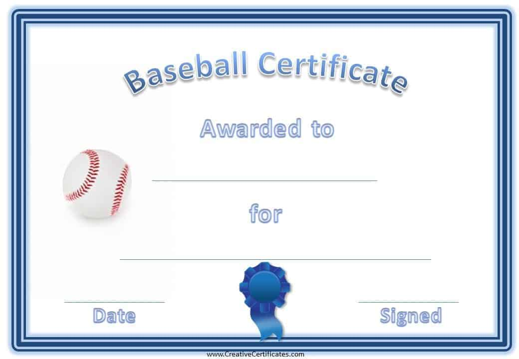 Free Editable Baseball Certificates - Customize Online ...