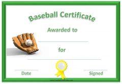 baseball certificate with green border, yellow ribbon, baseball and ball