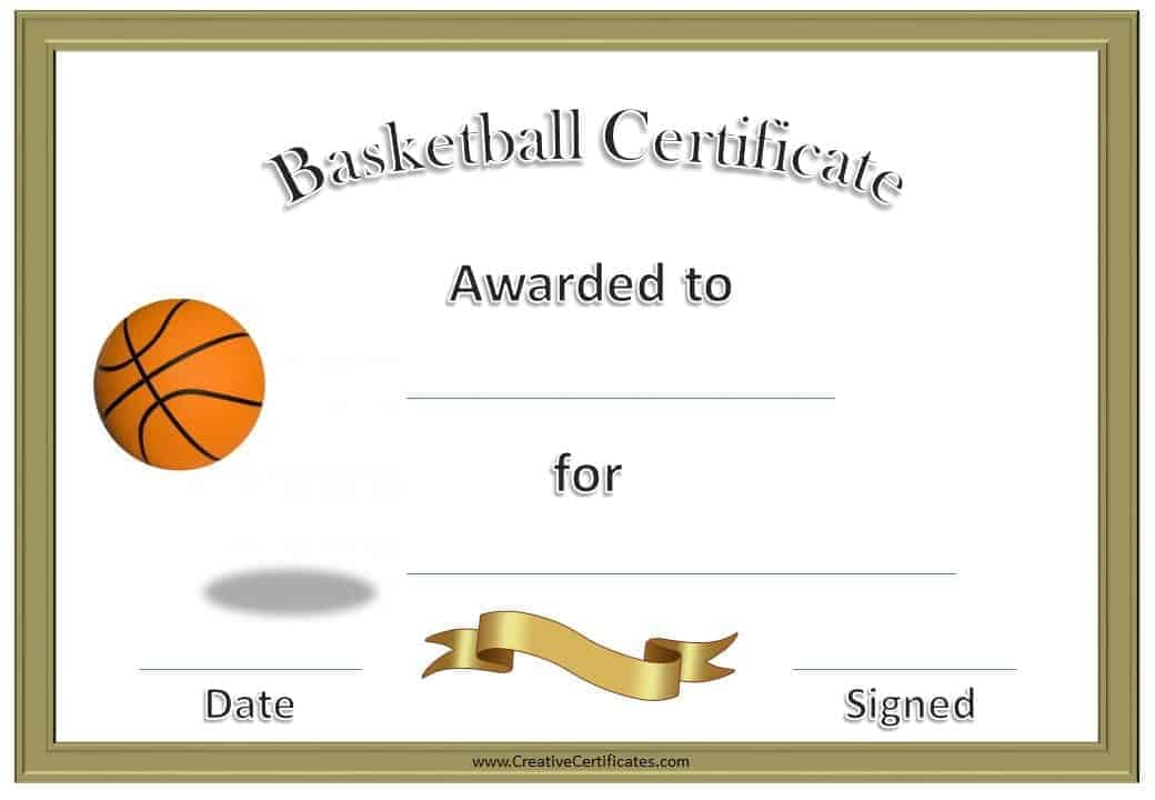 Free basketball certificate templates basketball certificate with a gold border and a picture of a basketball bouncing yadclub Images