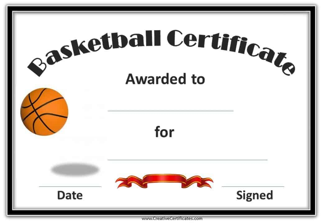 Free editable basketball certificates customize online for Basketball mvp certificate template