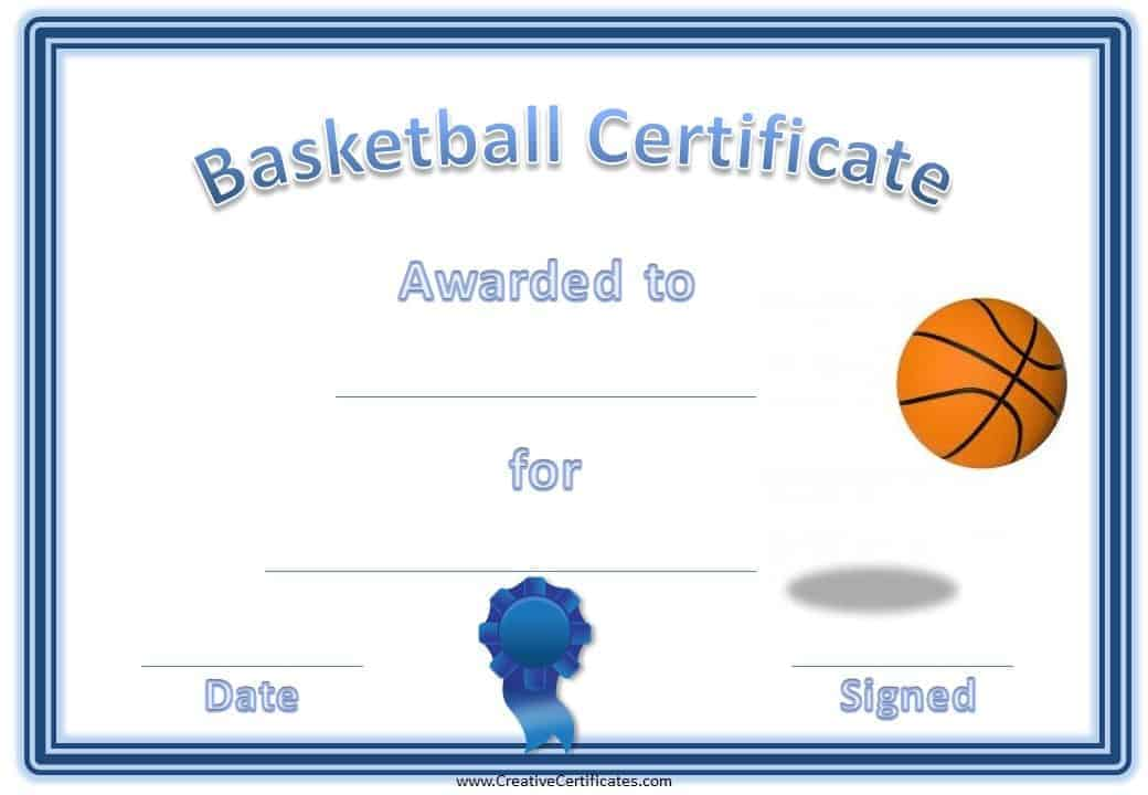 Free editable basketball certificates customize online print at home basketball award certificate with a blue border a blue ribbon and an image of a yelopaper