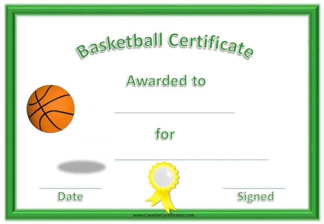 Free basketball certificate templates basketball award with a green border and a yellow ribbon yadclub Choice Image