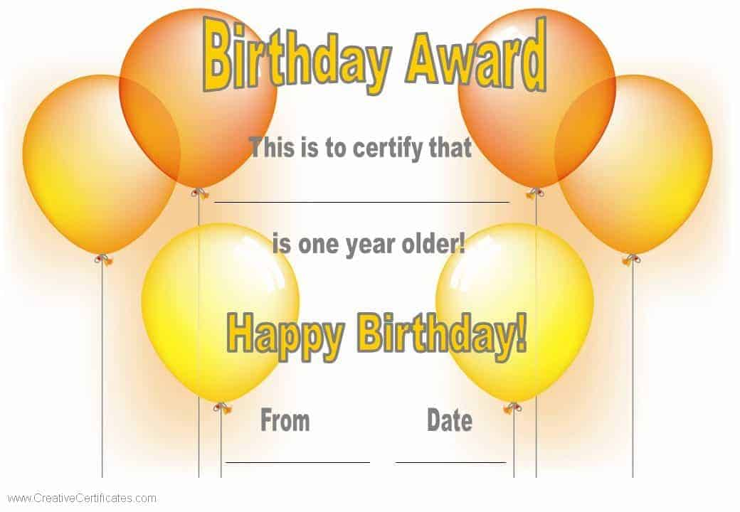 Free happy birthday certificate template customize online generic printable birthday certificate yadclub Choice Image