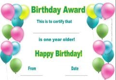 birthday certificate template with colored balloons and green text