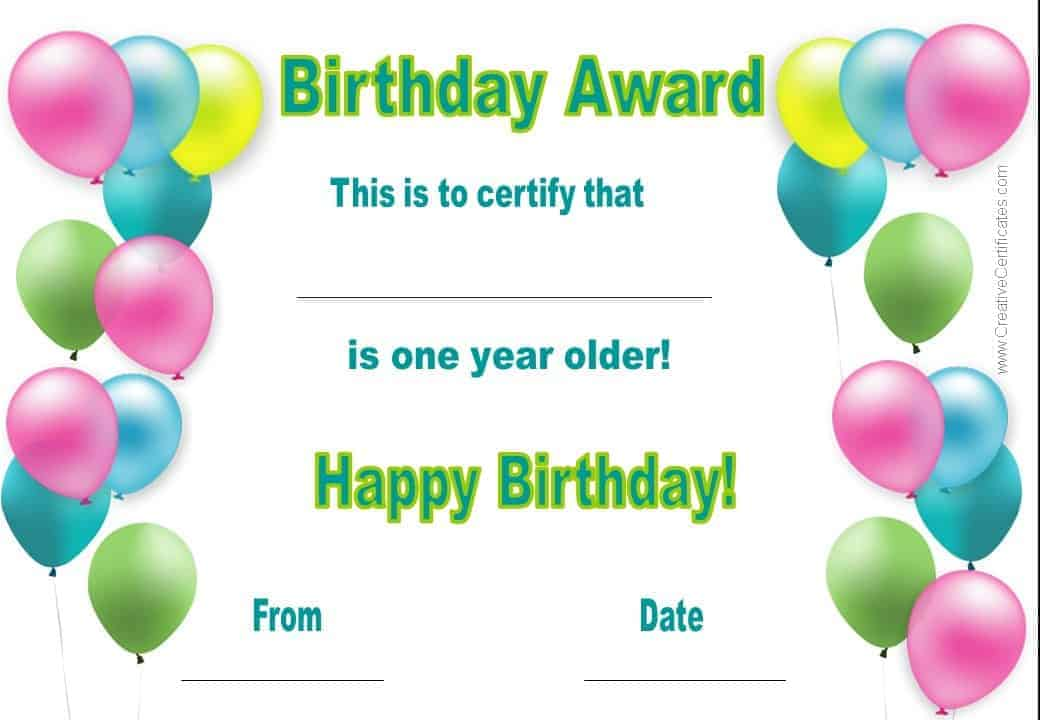 This is an image of Astounding Free Printable Birthday Certificates