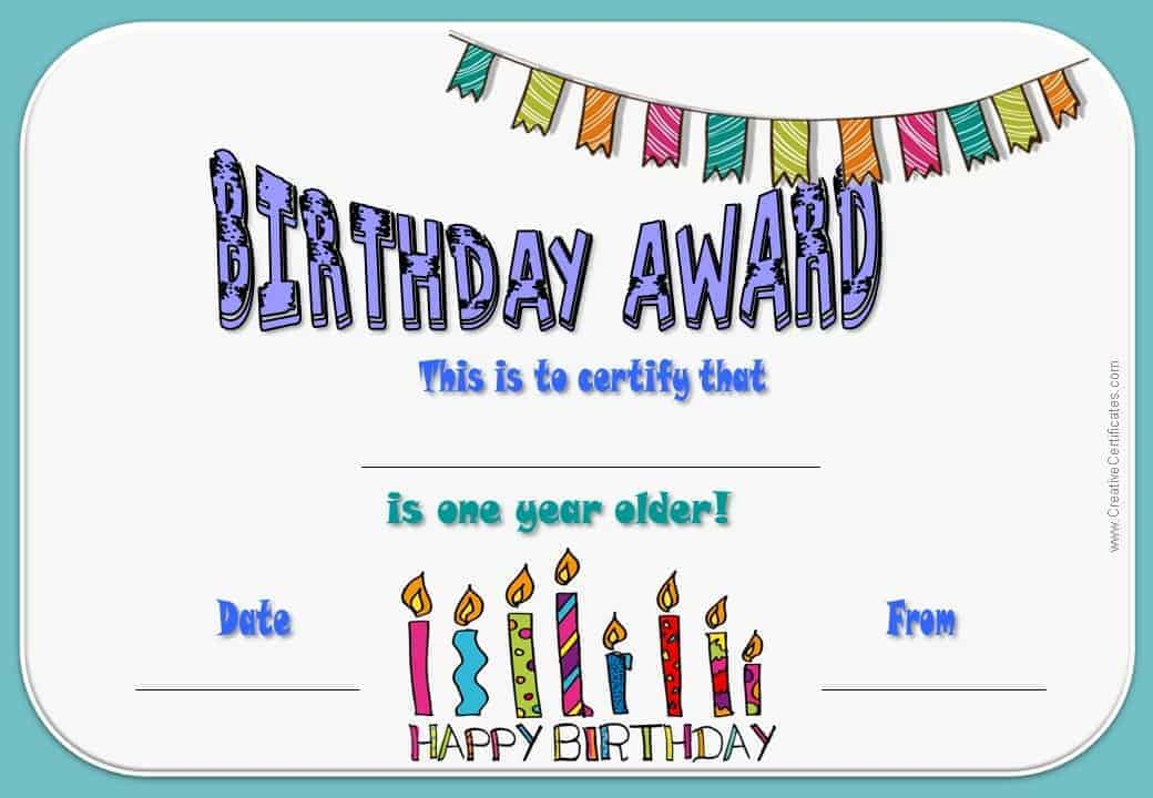 Free happy birthday certificate template customize online generic birthday certificate template yadclub Image collections