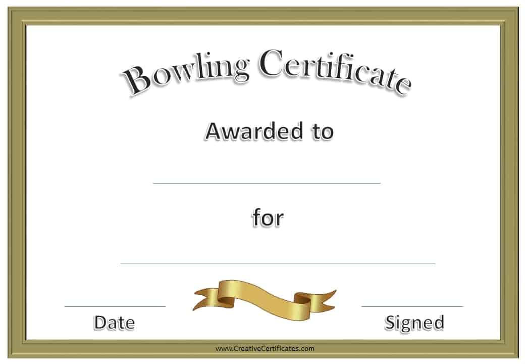 Bowling Certificate Customize Print Sports Award