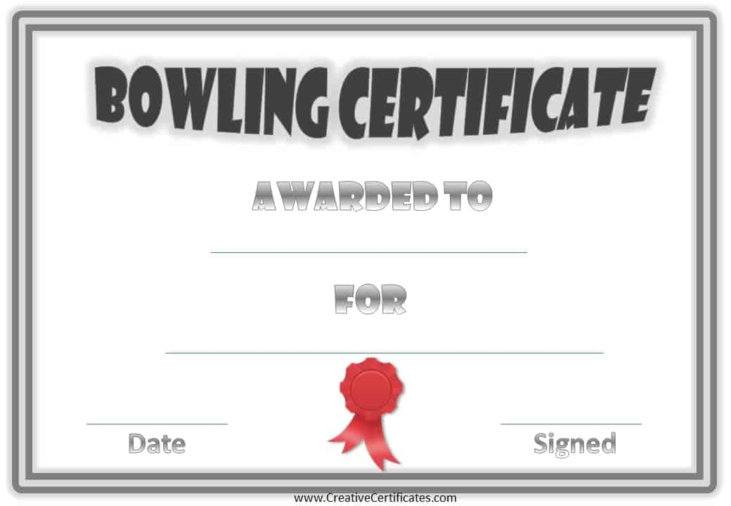 Free bowling certificate template bowling certificate templates yadclub Choice Image