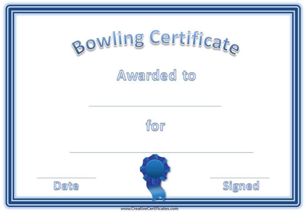 Free bowling certificate template blue bowling award yadclub Image collections