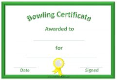 non formal bowling award