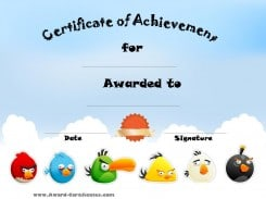 Certificate of Achievement with pictures of Angry Birds and a sky background