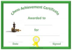 chess award with 2 chess pieces, a green border and a yellow ribbon