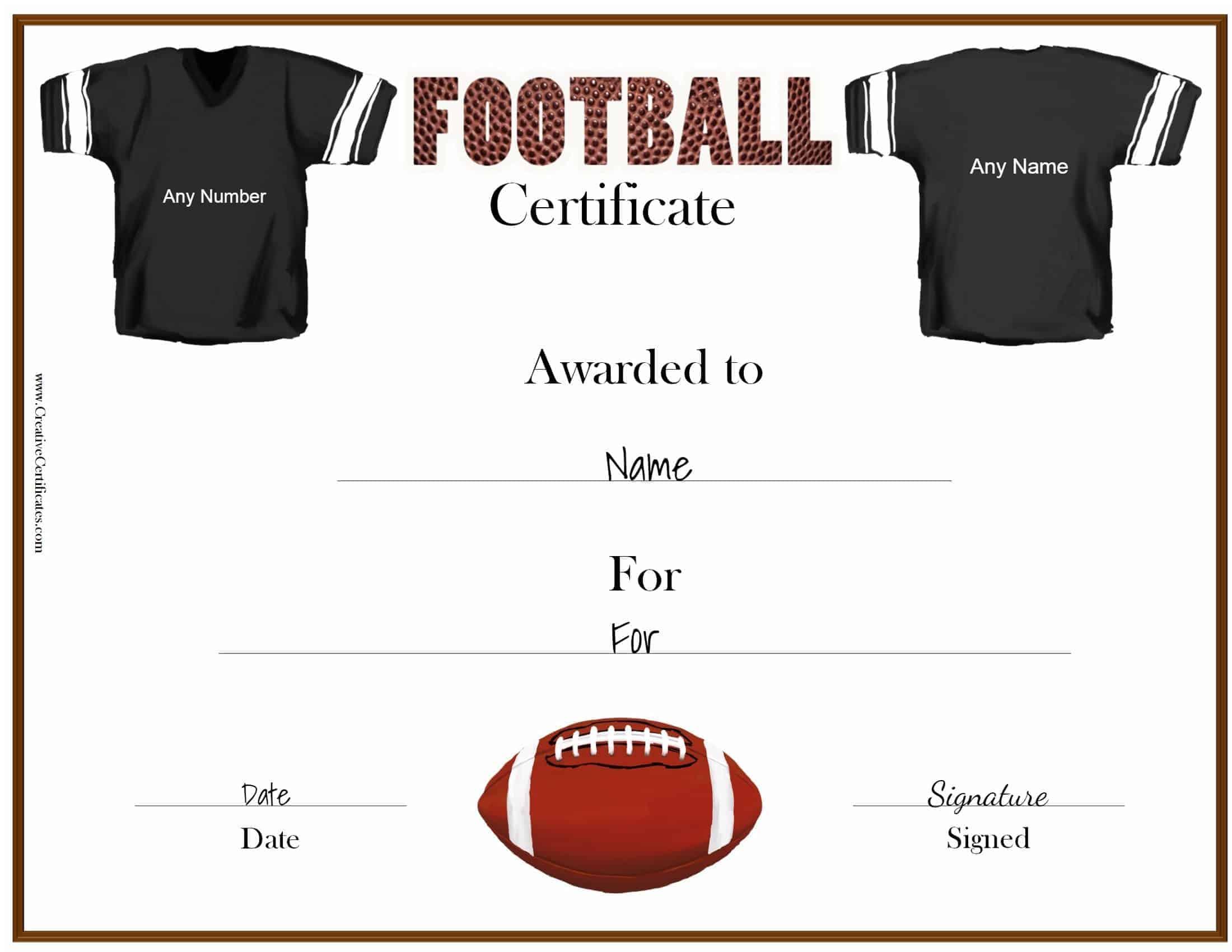 Football Certificate Theminecraftserver Best Resume Templates