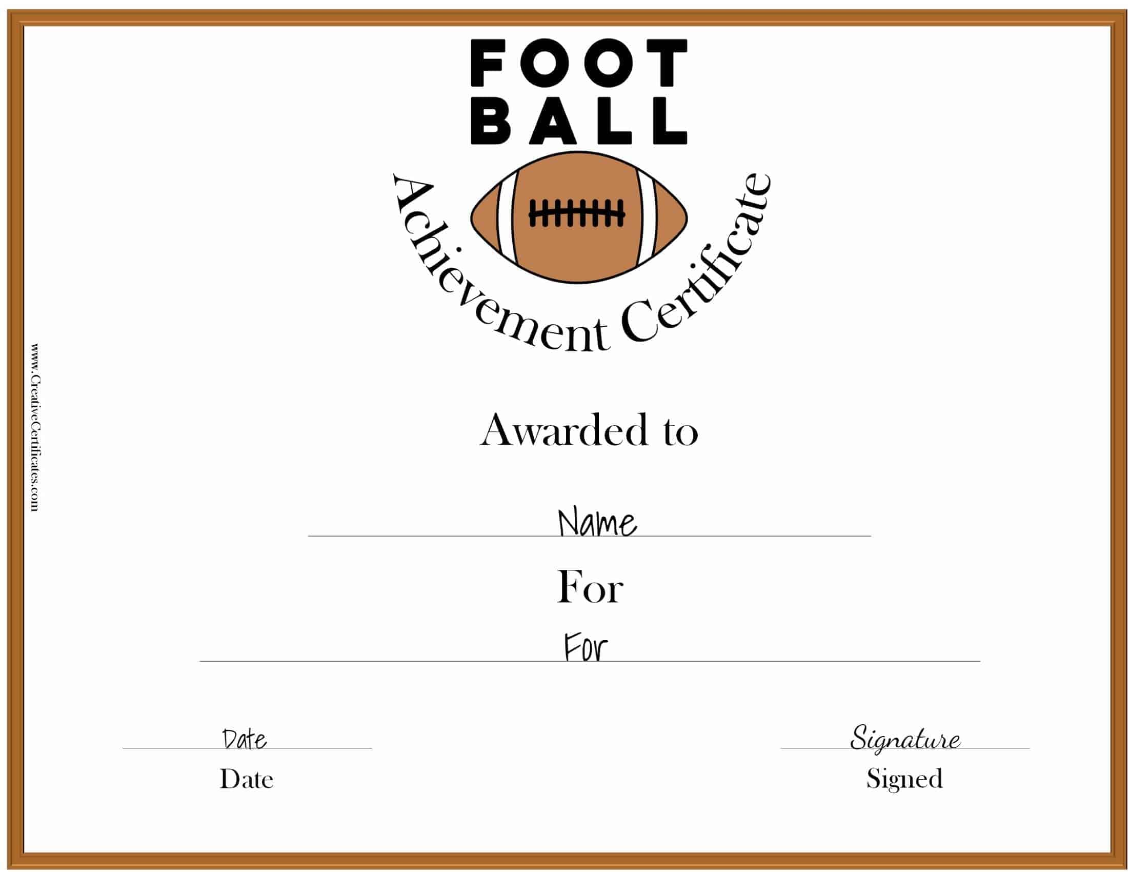 Free custom football certificates certificate template yadclub Gallery