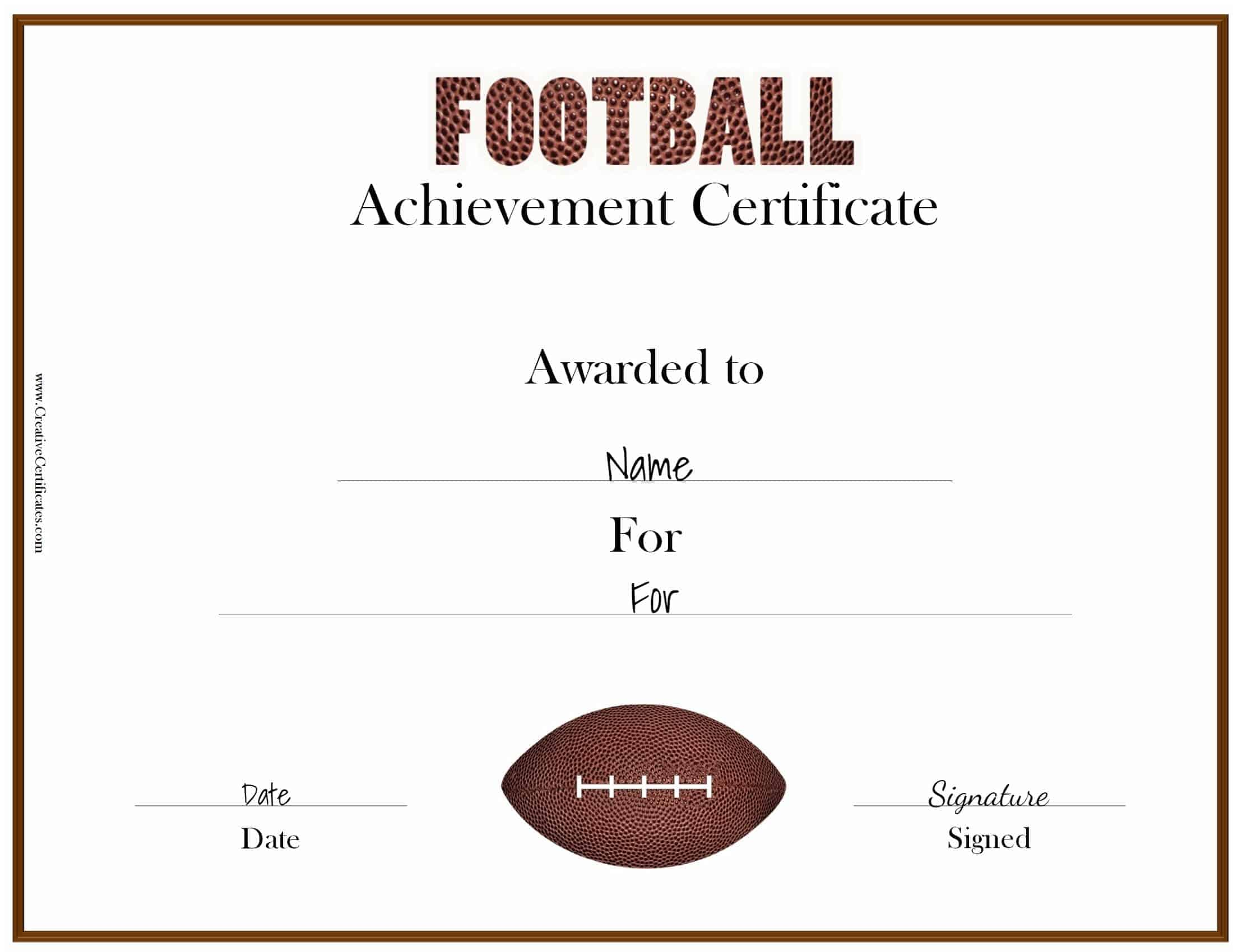 football certificate templates free custom football certificates
