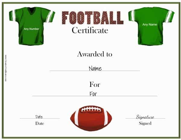 Free Custom Football Certificates