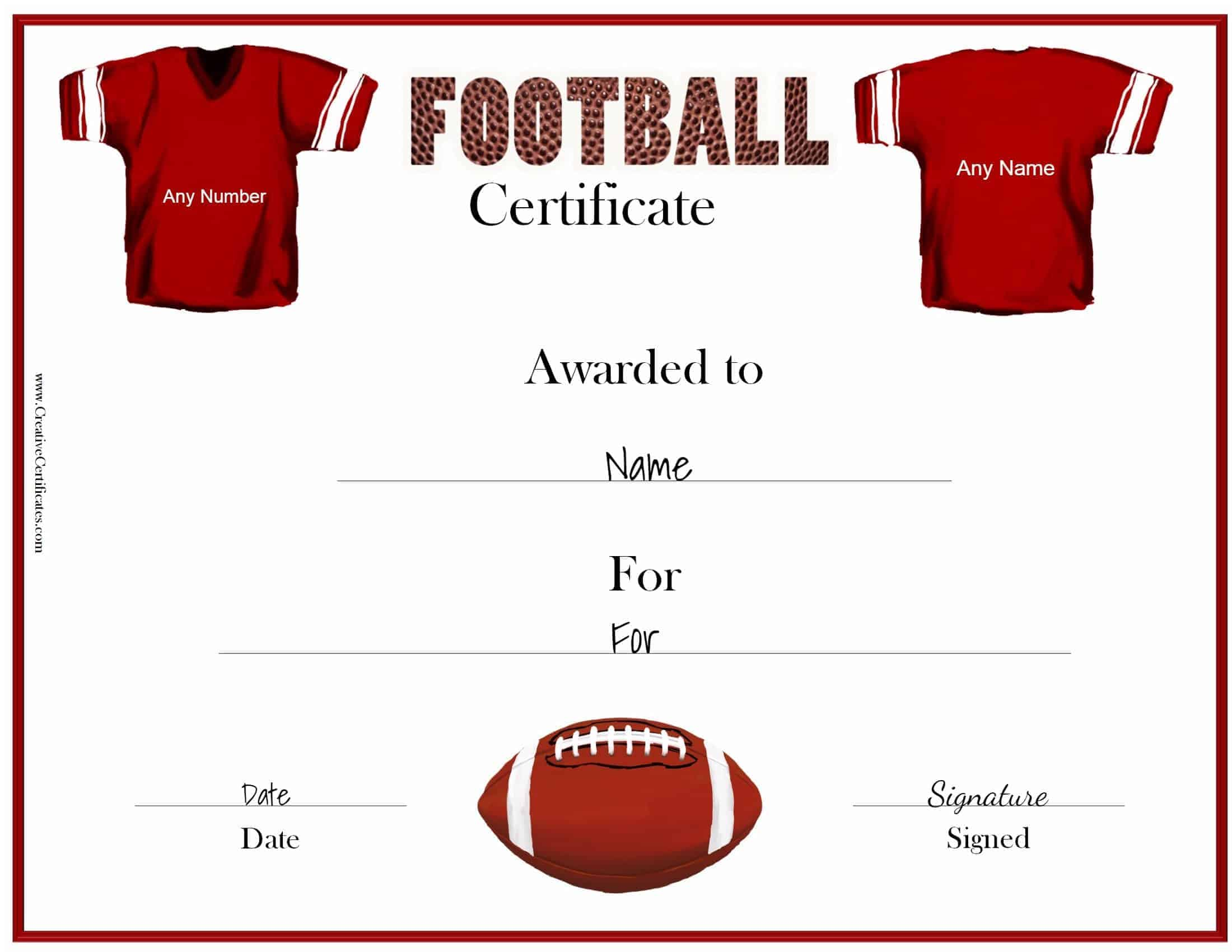 Free custom football certificates red jersey yadclub Gallery