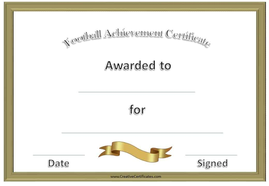 Free custom football certificates football awards yadclub Gallery