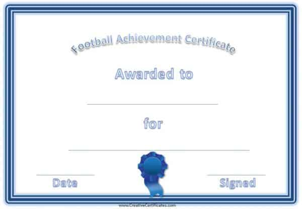 Football certificate with a blue border and a blue award ribbon