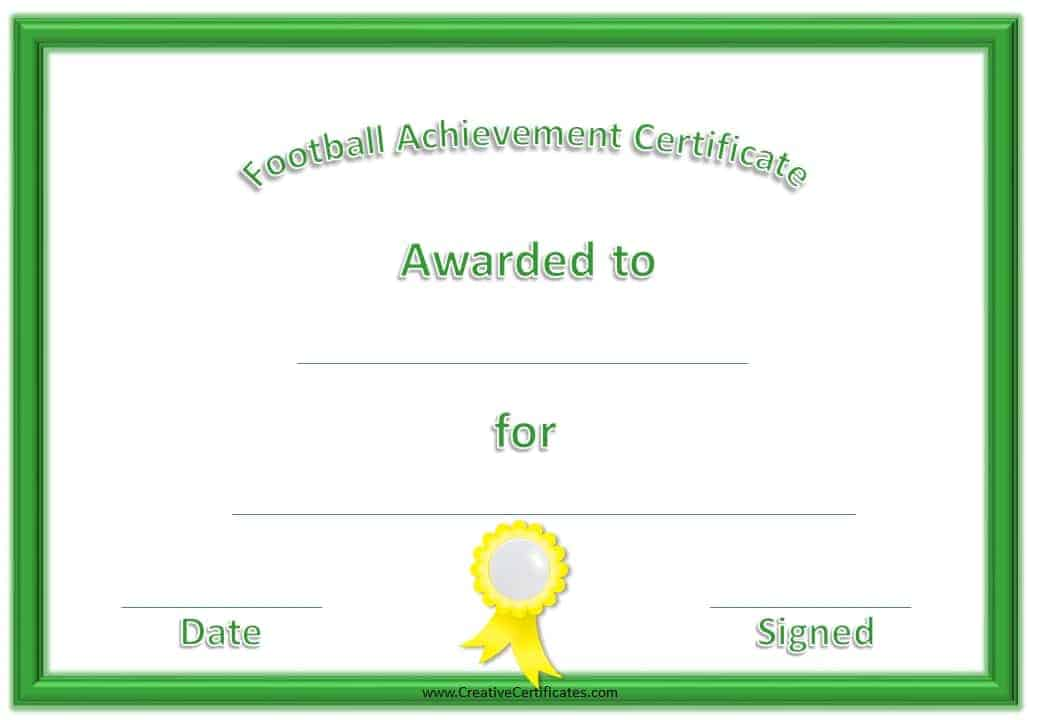 football certificates  Free Custom Football Certificates
