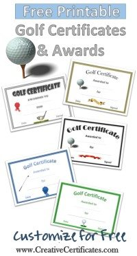 Free printable golf certificates customizable for Free hole in one certificate template