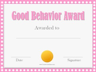 Good behavior award certificate with a pink border