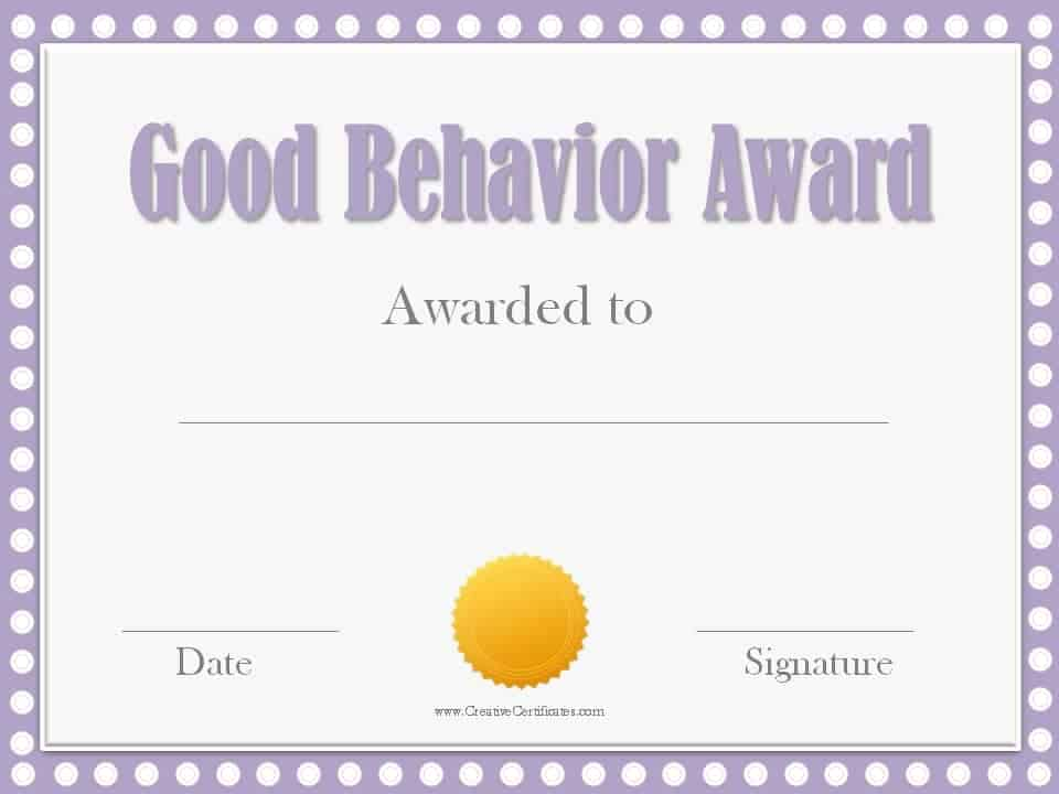 Good Behavior Award Certificates – Award Certificate