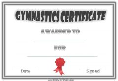 gymnastic certificate with a double grey border and a red ribbon