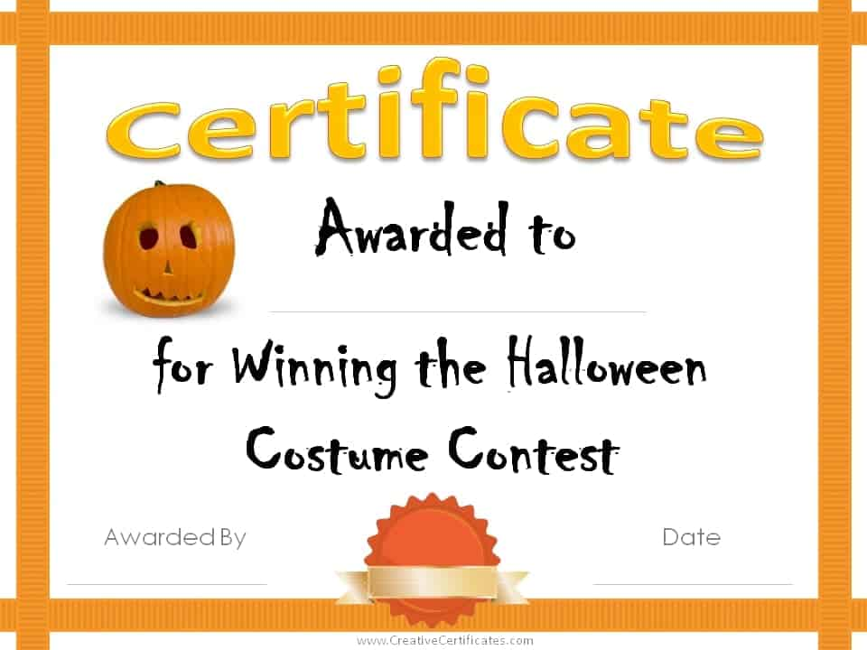 Free Halloween Costume Awards | Customize online | Instant ...