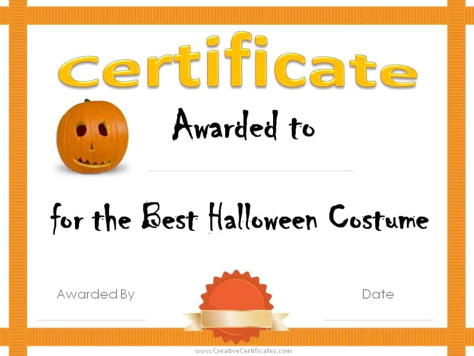 halloween awards certificates