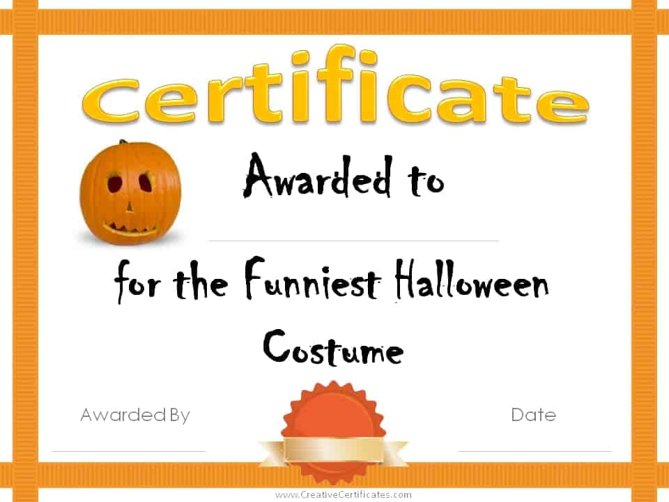 Funny certificates template funniest halloween costume ceremony certificate templates by canva free halloween costume awards yelopaper Images