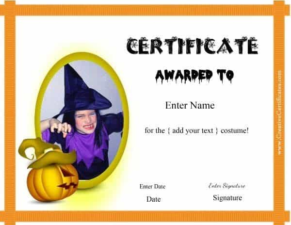 Free halloween costume awards halloween certificates yadclub Image collections
