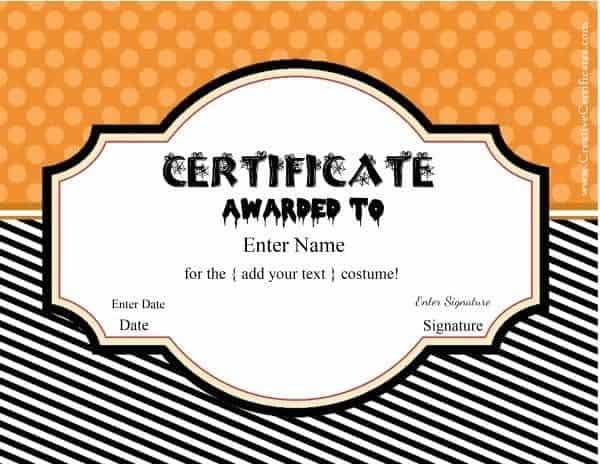Free halloween costume awards halloween certificate templates yelopaper Choice Image