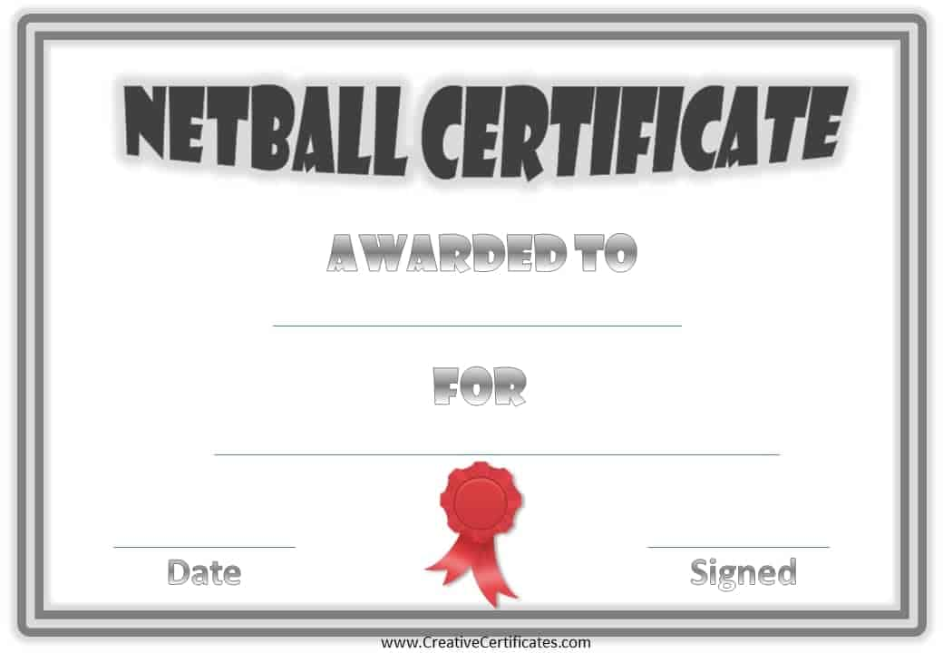Free Netball Certificates – Blank Achievement Certificates