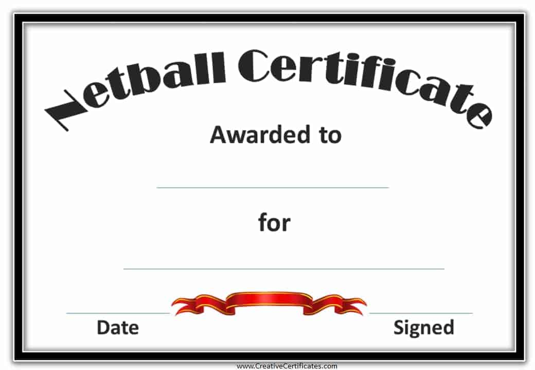 Free Netball Certificates