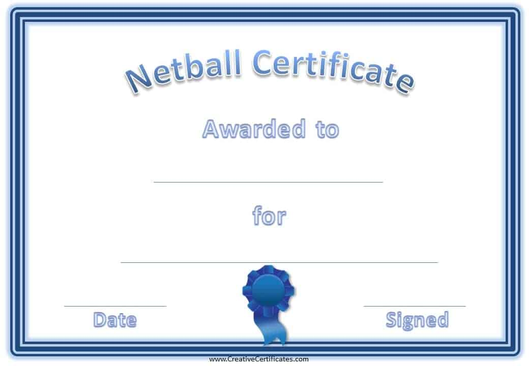 Free netball certificates blue netball certificate award yadclub Images