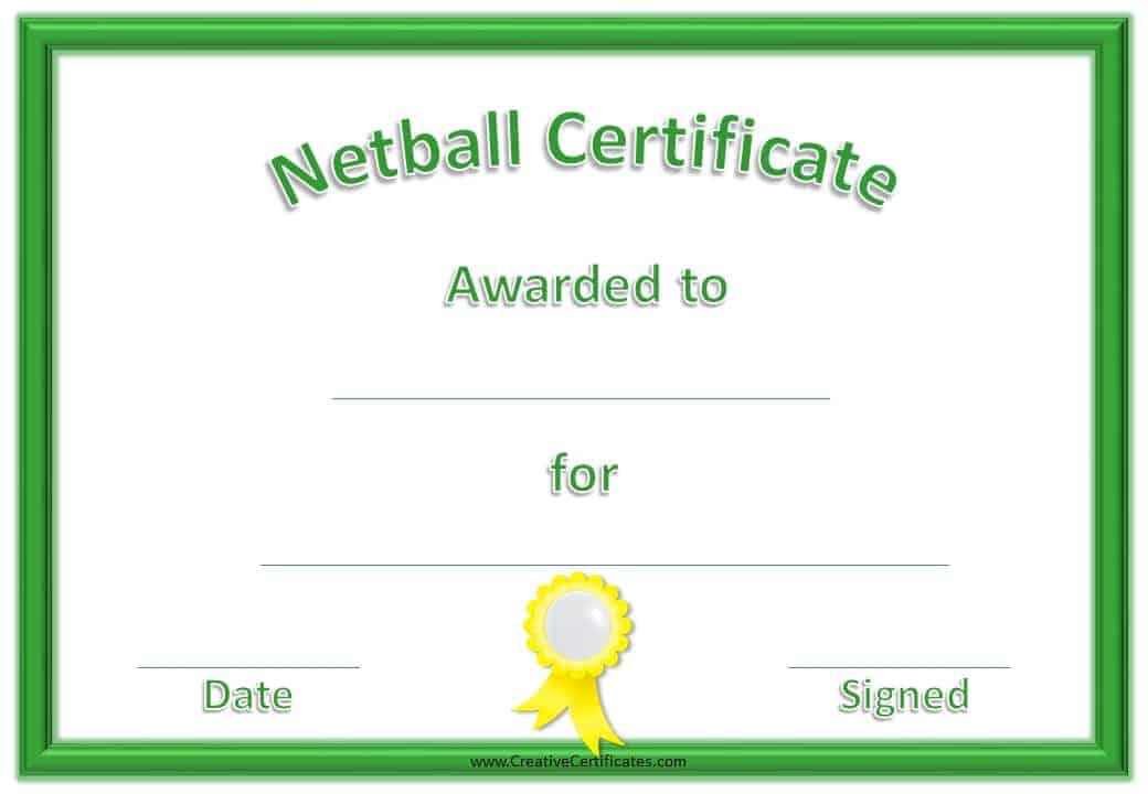 Free netball certificates sports award in green and yellow yadclub Images