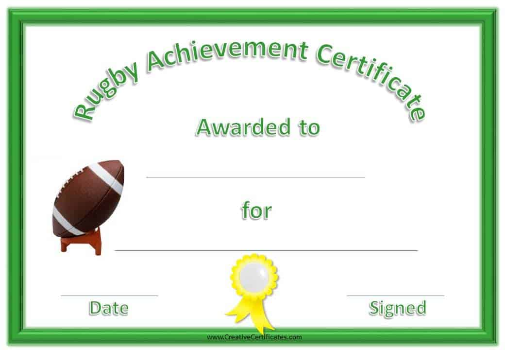 Rugby award certificate sports award which reads rugby achievement certificate with a green border and a yellow yelopaper Images