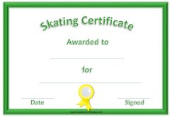 Skating Award Certificates