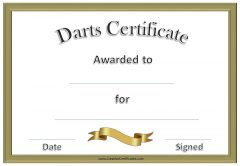 Darts certificates with a gold border and a gold ribbon