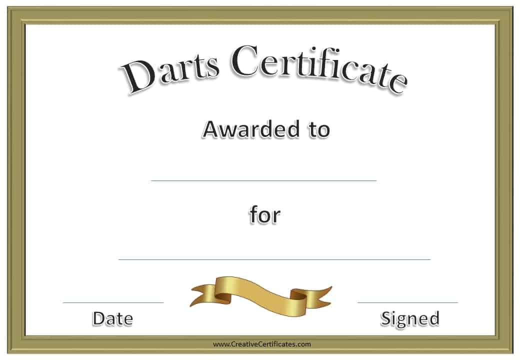 Free Printable Darts Award | Customize Online then Print