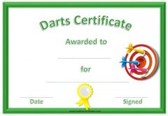 Darts certificate with a green border, a red and white dart board and a yellow ribbon