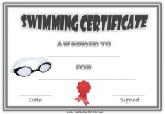 swimming award with a grey border, red ribbon and a picture of black goggles