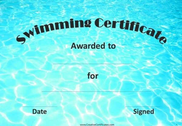 swimming certificate with image of water in the background which looks like a pool