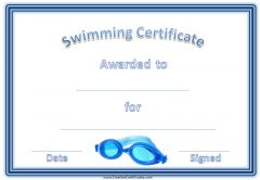 sport award with a blue border and blue swimming goggles