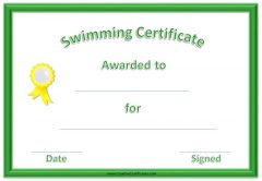 Printable swimming certificate with a green border and yellow ribbon on the left side