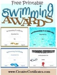 free printable swimming certificates with a picture of 4 of the awards available on the site