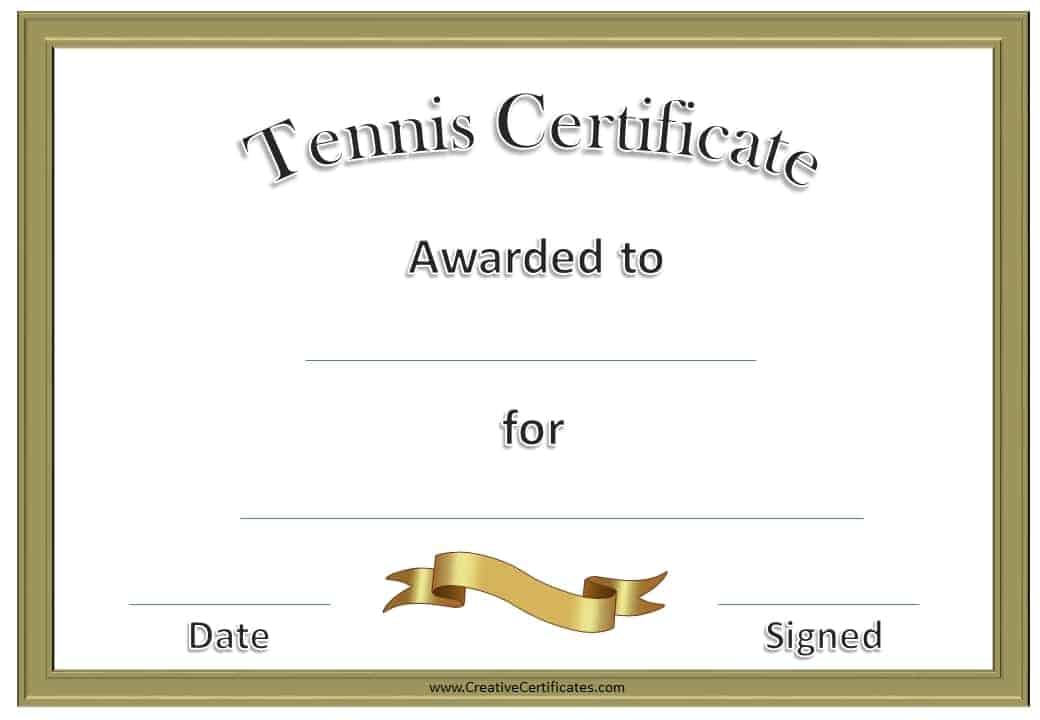 Free Tennis Certificate Templates | Customizable & Printable