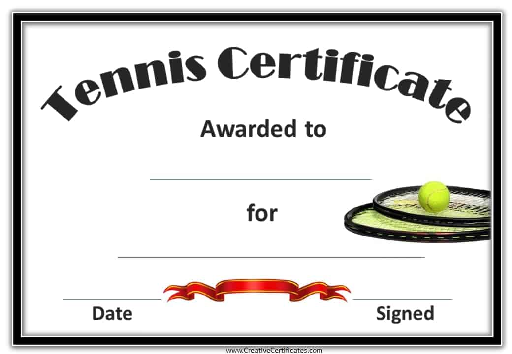 Free tennis certificate templates customizable printable certificate template templates tennis award with a picture of 2 tennis rackets and a ball yadclub Gallery