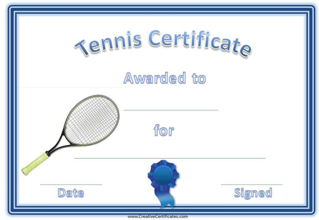 Free tennis certificate templates customizable printable tennis certificate with a picture of a tennis racket yadclub Gallery